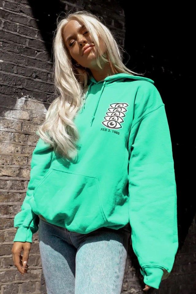 Lottie Tomlinson Green Slogan Eye Lounge Hoodie | In The Style USA