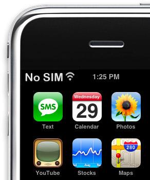 "iPhone 4 ""No SIM"" sign"