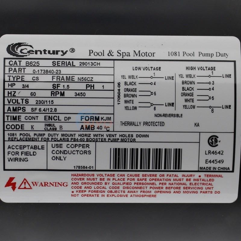 AO Smith Polaris Booster Pump 34 HP Motor  B625