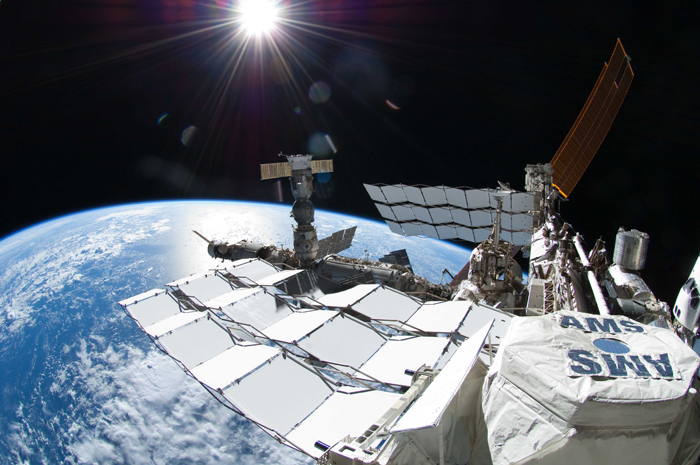 The $1.5bn Alpha Magnetic Spectrometer on board the International Space Station. (Courtesy: NASA)