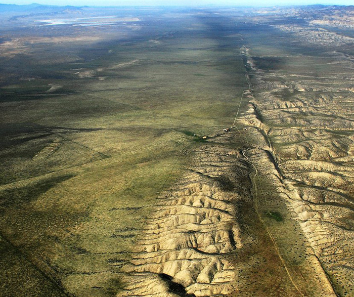 """The San Andreas Fault in California. Could acoustic fluidization be involved in how geological plates slip? (CC BY John LWiley <a href=""""http://flickr.com/jw4pix"""">http://flickr.com/jw4pix</a>)"""