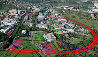 Aerial view of the Frascati lab showing where SuperB was to be built