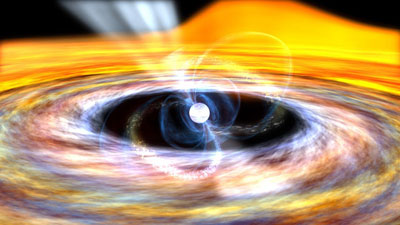 An artist's impression of an accreting X-ray millisecond pulsar