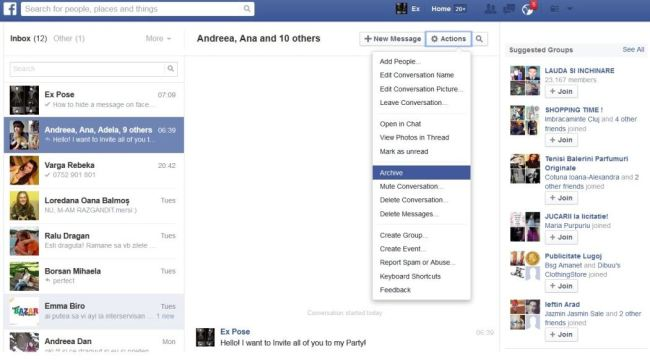 archive facebook messages
