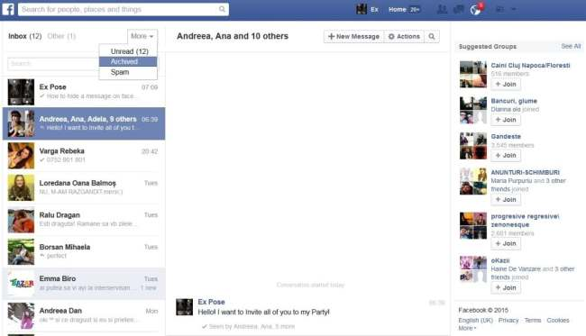 read archived facebook messages