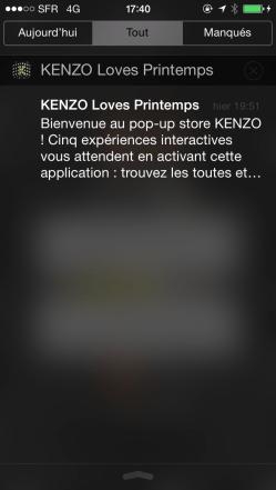 Notification iBeacon avec KENZO LOVES PRINTEMPS