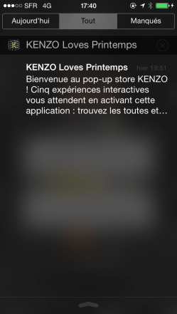 Notification iBeacon avec KENZO LOVES PRINTEMPS