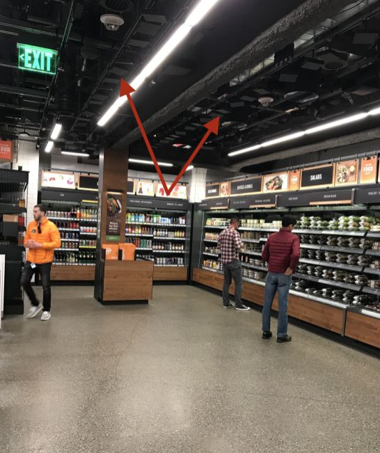 Les caméras et capteurs disposées dans tout le magasin