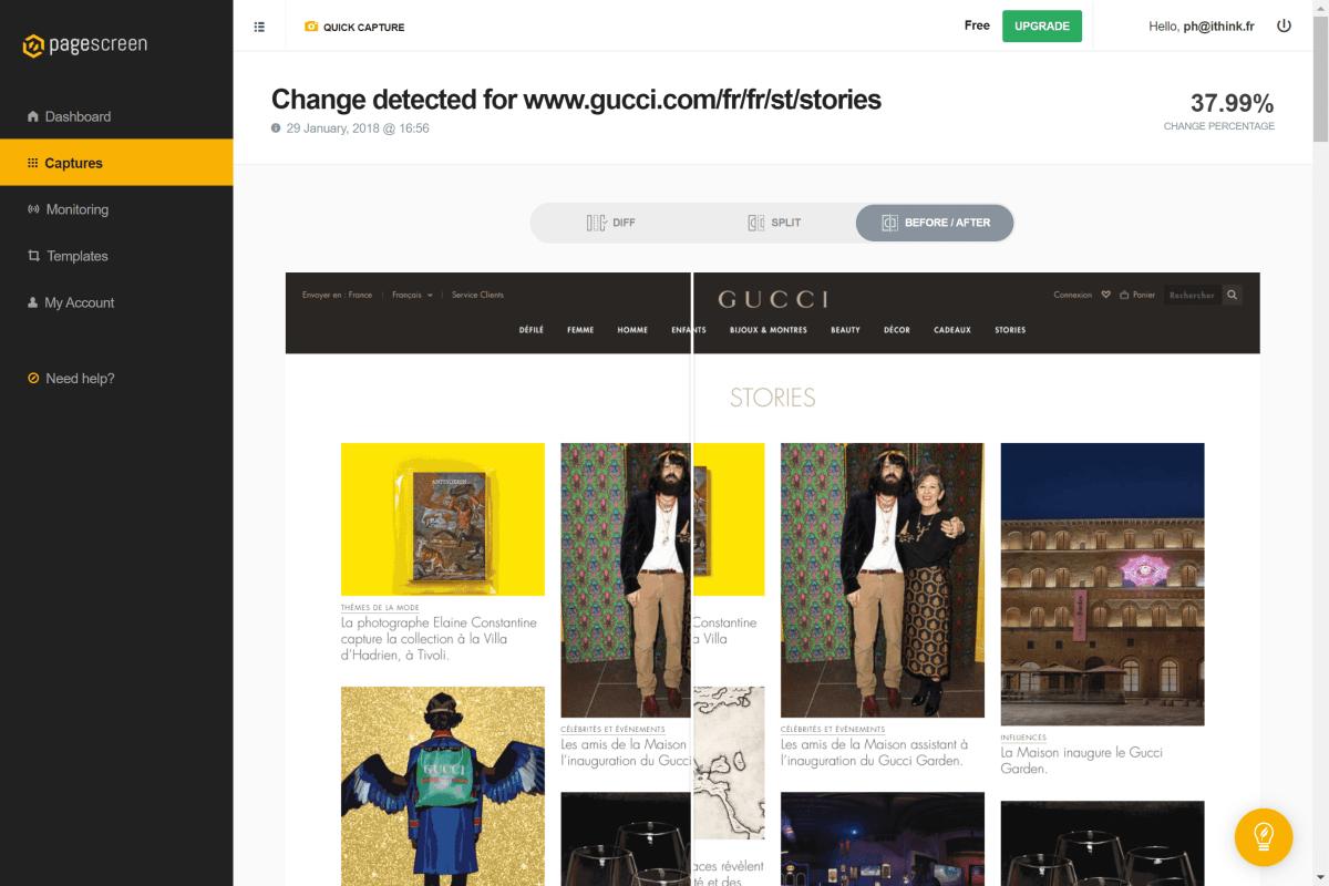 Outil : réaliser une veille concurrentielle de sites automatiquement avec PageScreen.io