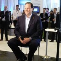 Marc Benioff, PDG de Salesforce.com, éditeur de logiciels de gestion de la relation client (CRM), ce matin à Paris sur Salesforce1 World Tour. (crédit : LMI) Cliquer sur l'image.