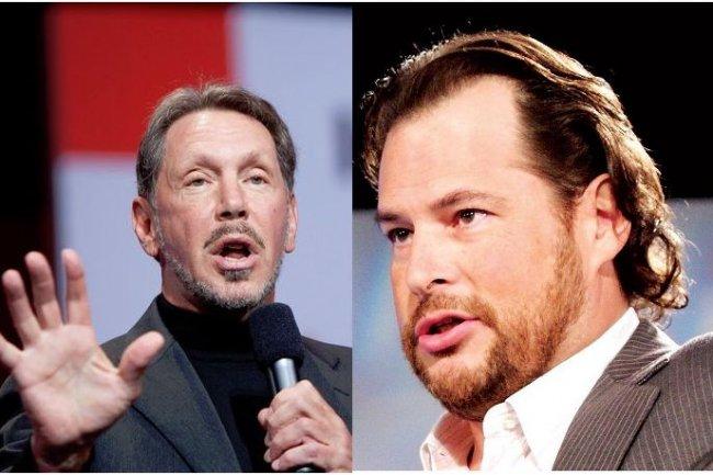 Larry Ellison, CEO d'Oracle (à gauche), et Marc Benioff, CEO de Salesforce.com, ont arrêté leurs joutes verbales pour signer un accord technologique de 9 ans. (crédit : D.R.)