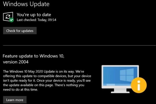 Microsoft prévient les utilisateurs souhaitant installer la dernière mise à jour Windows 10 que leur système n'est pas prêt à la recevoir. (crédit : Microsoft)