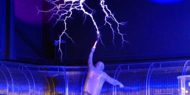 picture of a person experimenting with electricity