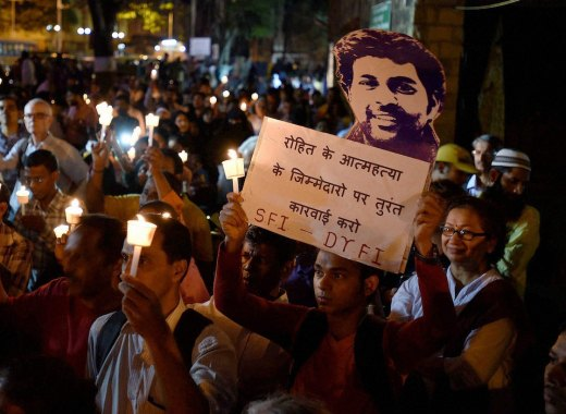 Students in Mumbai take part in a candlelight march last month to protest the suicide of Rohith Vemula, a well-known activist and scholar. scrolleditorial / Flickr