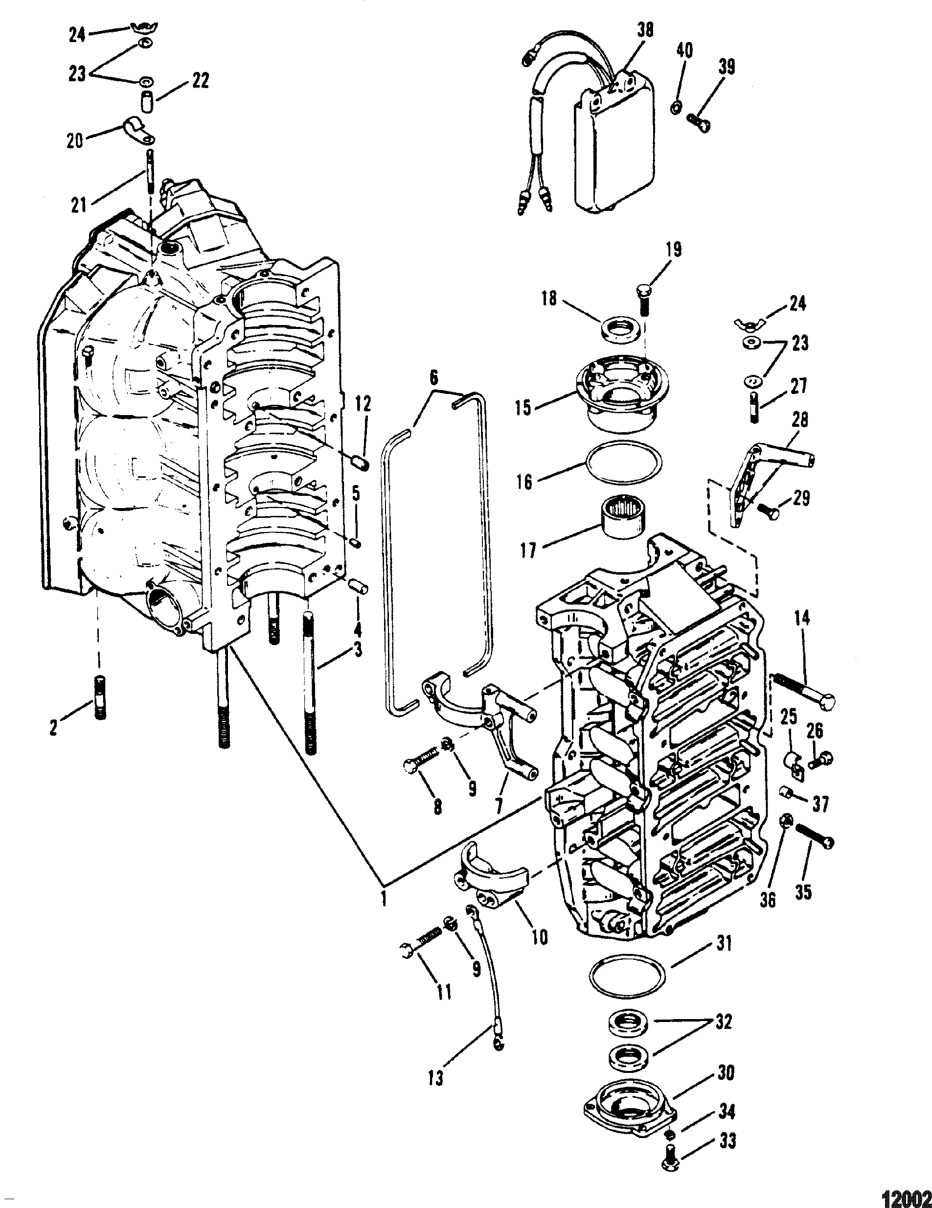 Cylinder Block And End Caps For Mariner Mercury 150