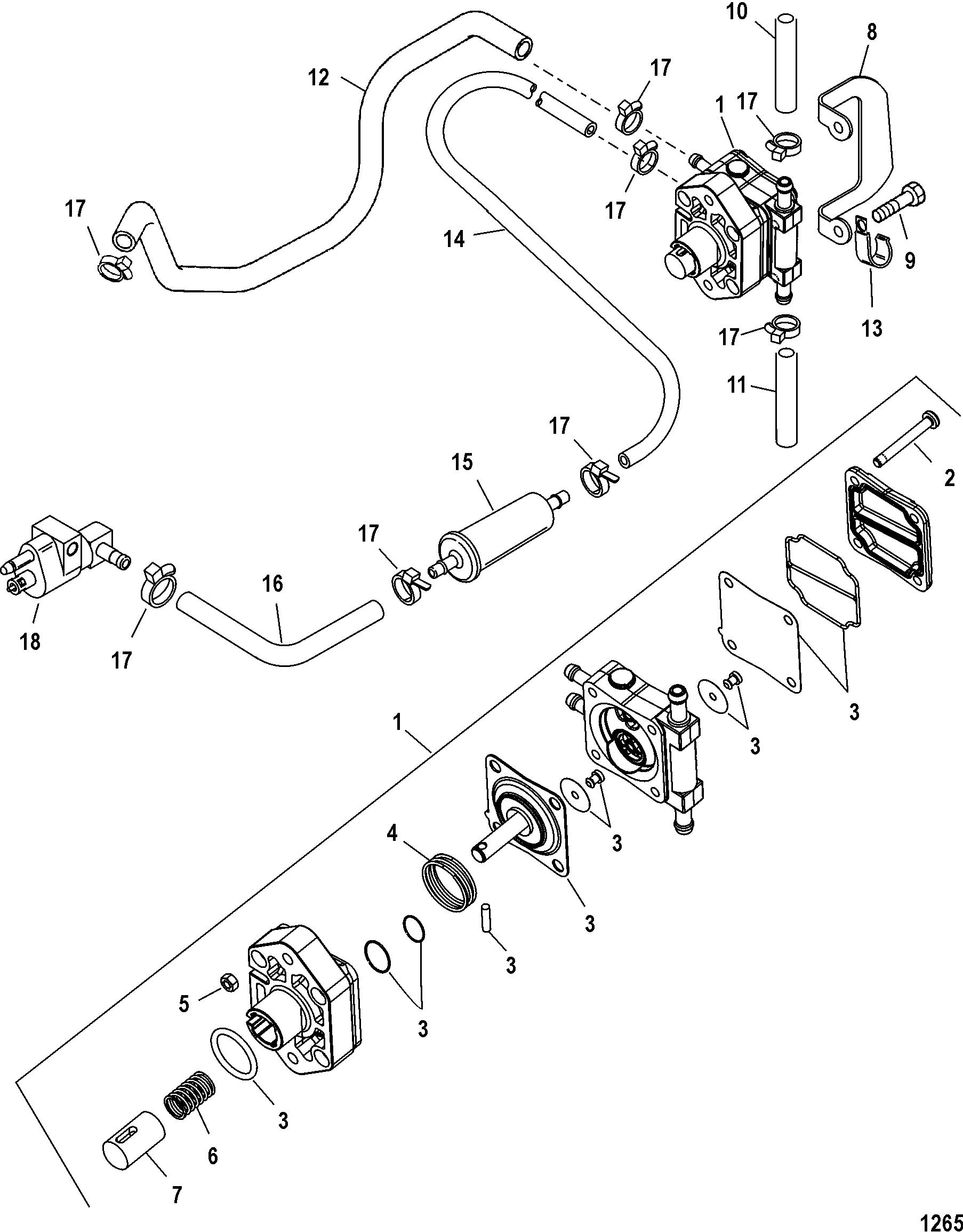 Fuel Pump For Mariner Mercury 30 40 3 Cyl Carb 4 Stroke