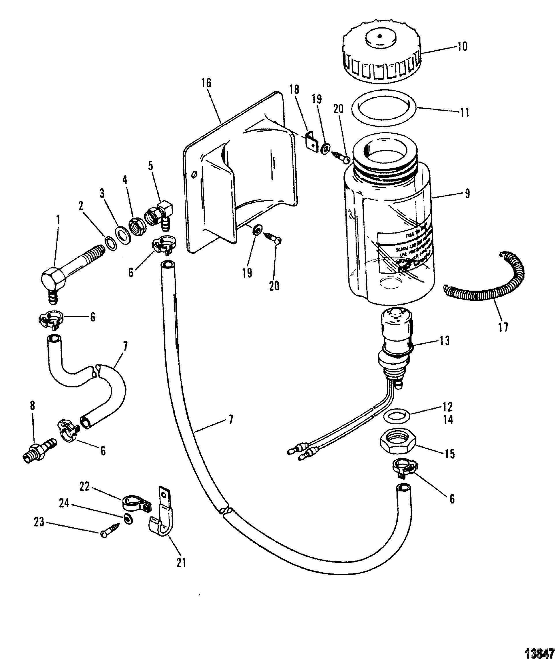 Oil Reservoir Components Round Oil Bottle For Mercruiser