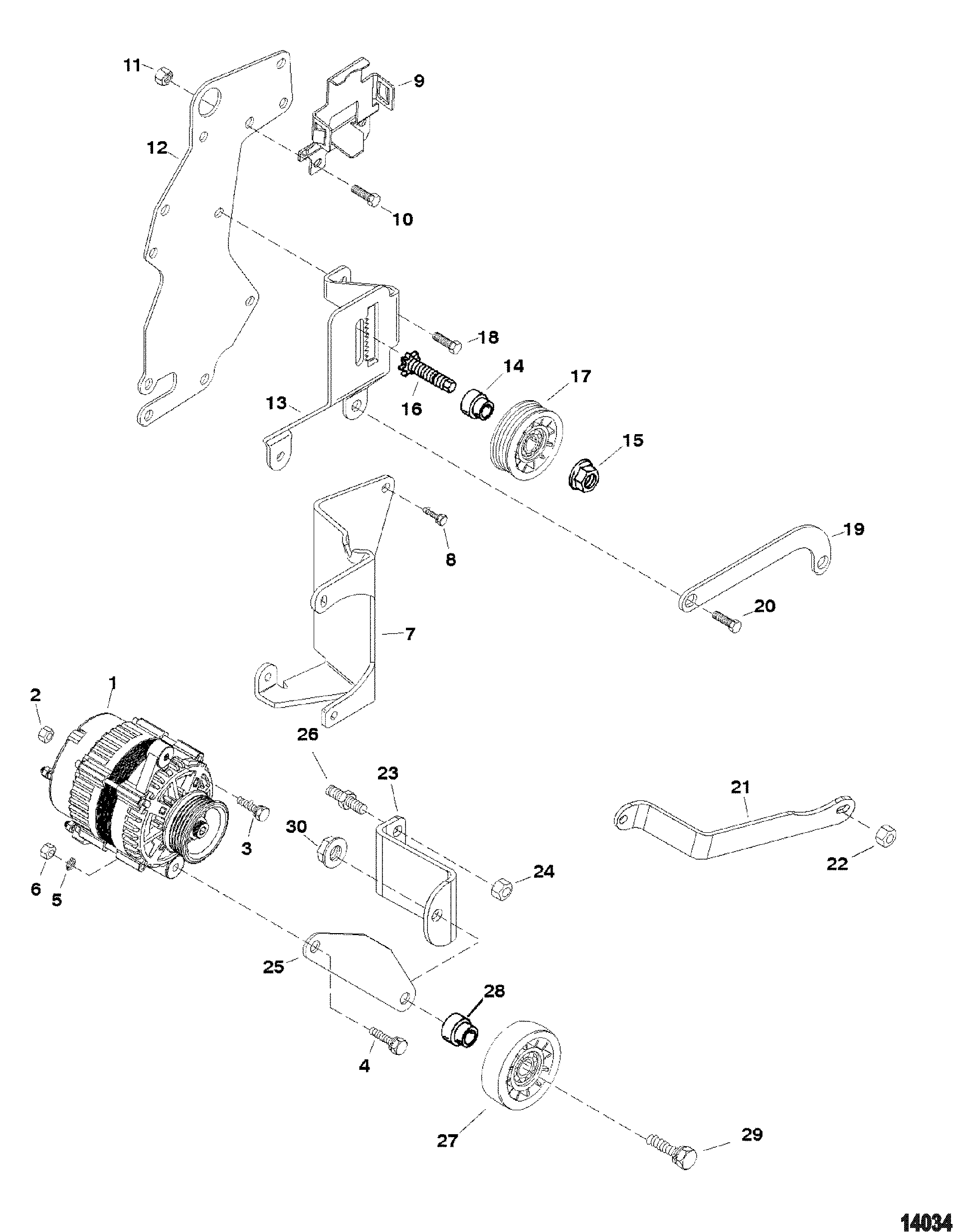 Alternator And Brackets Delco For Mercruiser 4 3l Alpha