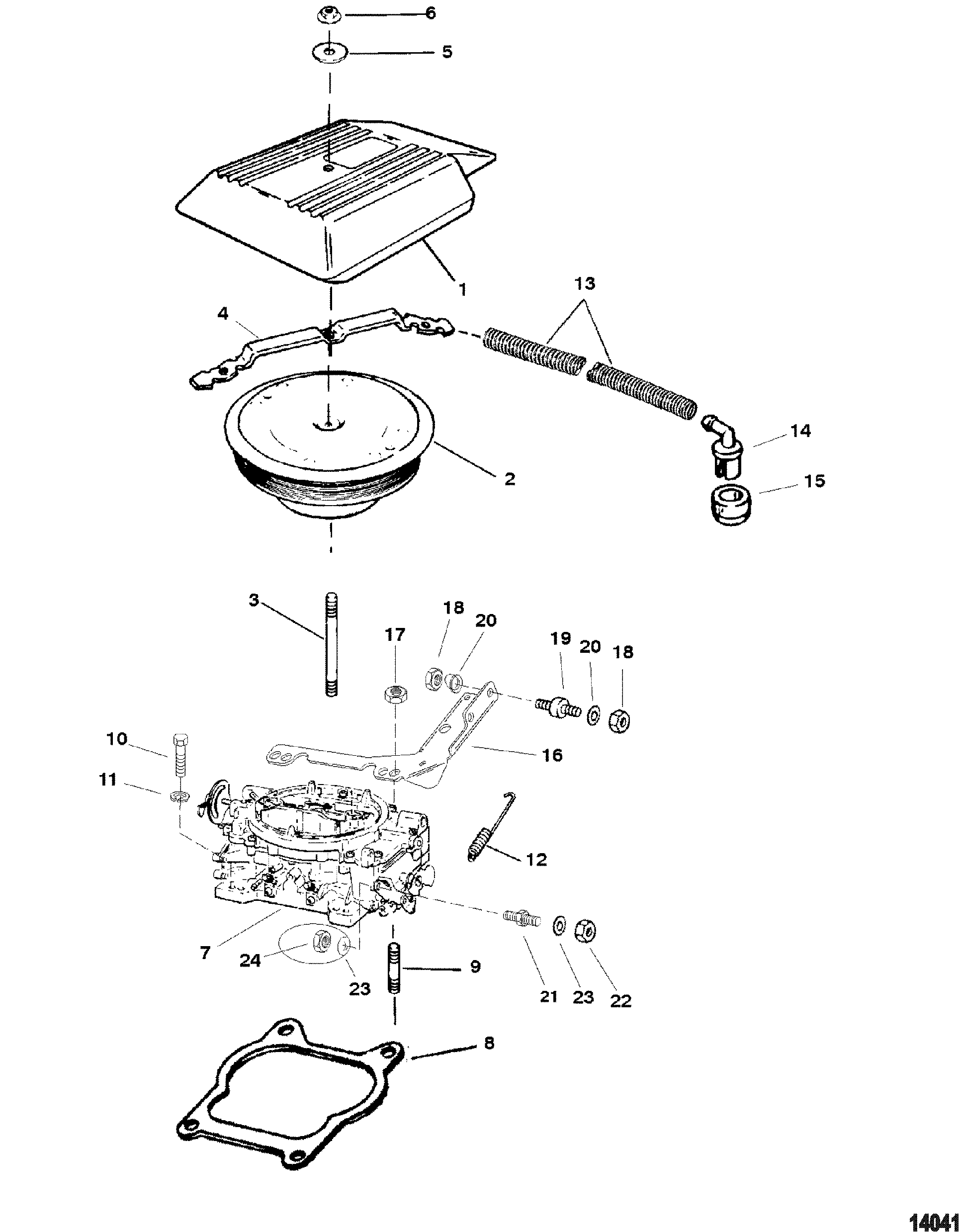Carburetor And Throttle Linkage Four Barrel For Mercruiser 4 3l Alpha Bravo 262 Cid