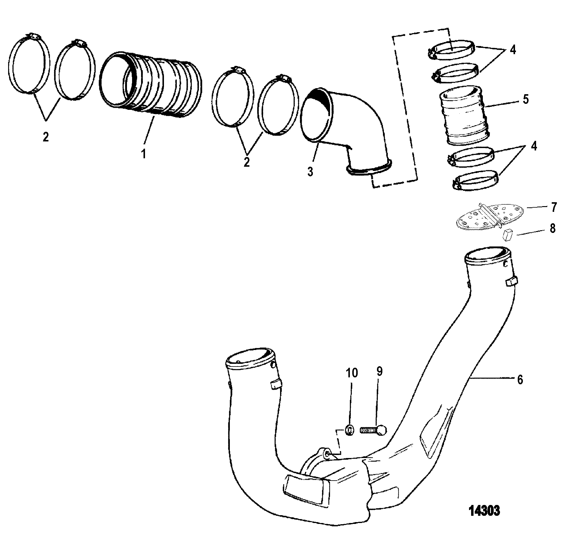 Exhaust System For Mercruiser 4 3l 4 3lx Alpha One Engine