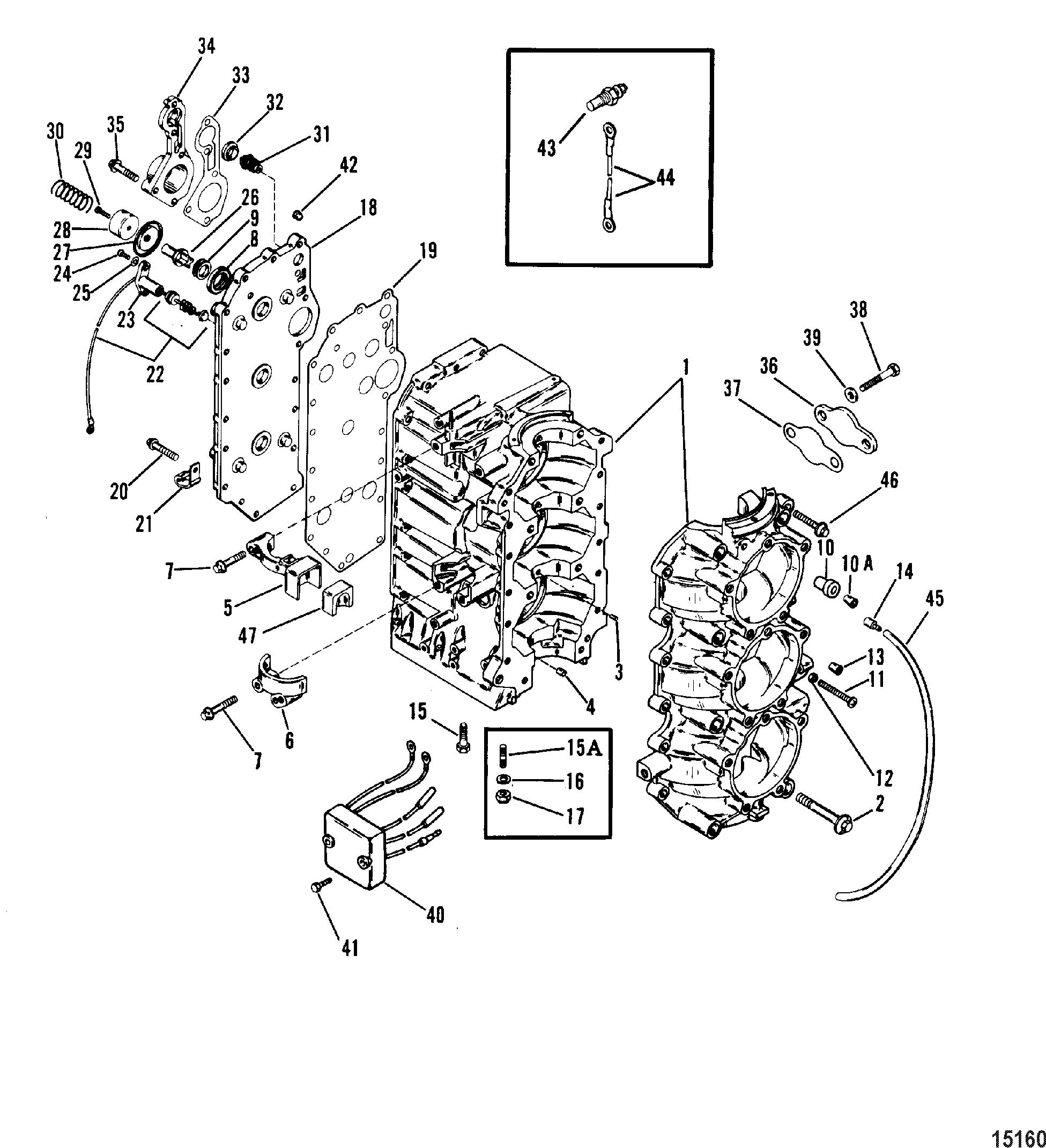 Cylinder Block And Crankcase For Mariner Mercury 70 75