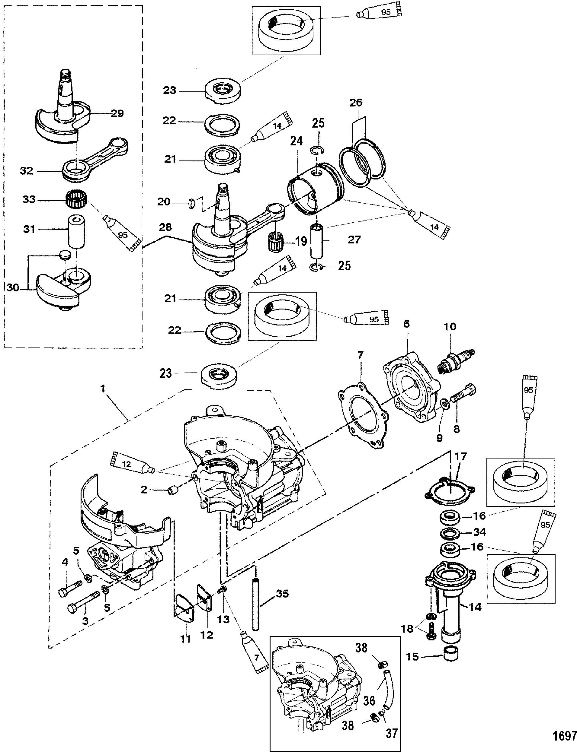 Cylinder Block Crankshaft Piston For Mariner Mercury 4 5hp 2 Stroke