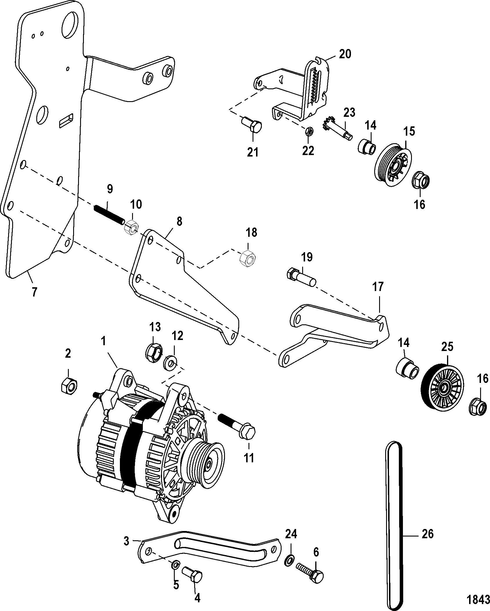 Alternator And Brackets For Mie 350 Mag Mpi Ski