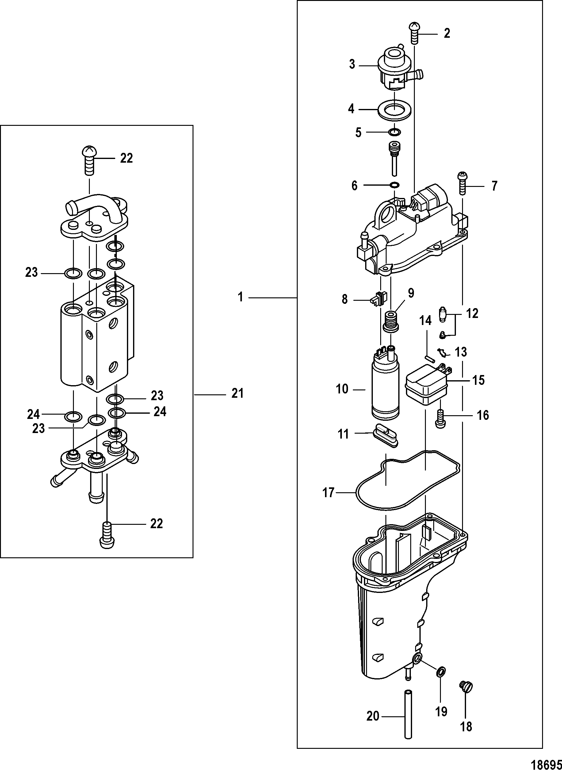 Fuel Rail And Vapor Separator Components For Mariner