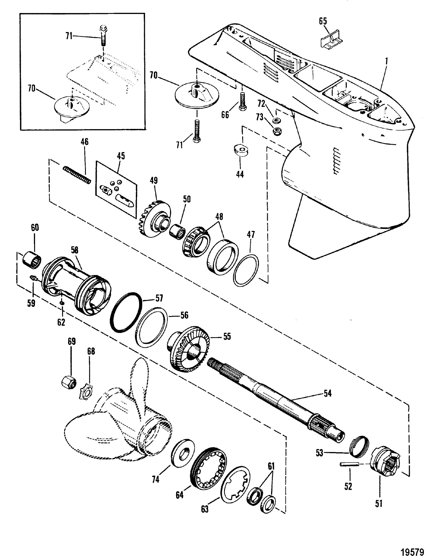 Gear Housing Propshaft Xr4 Magnum Ii For Mariner Mercury