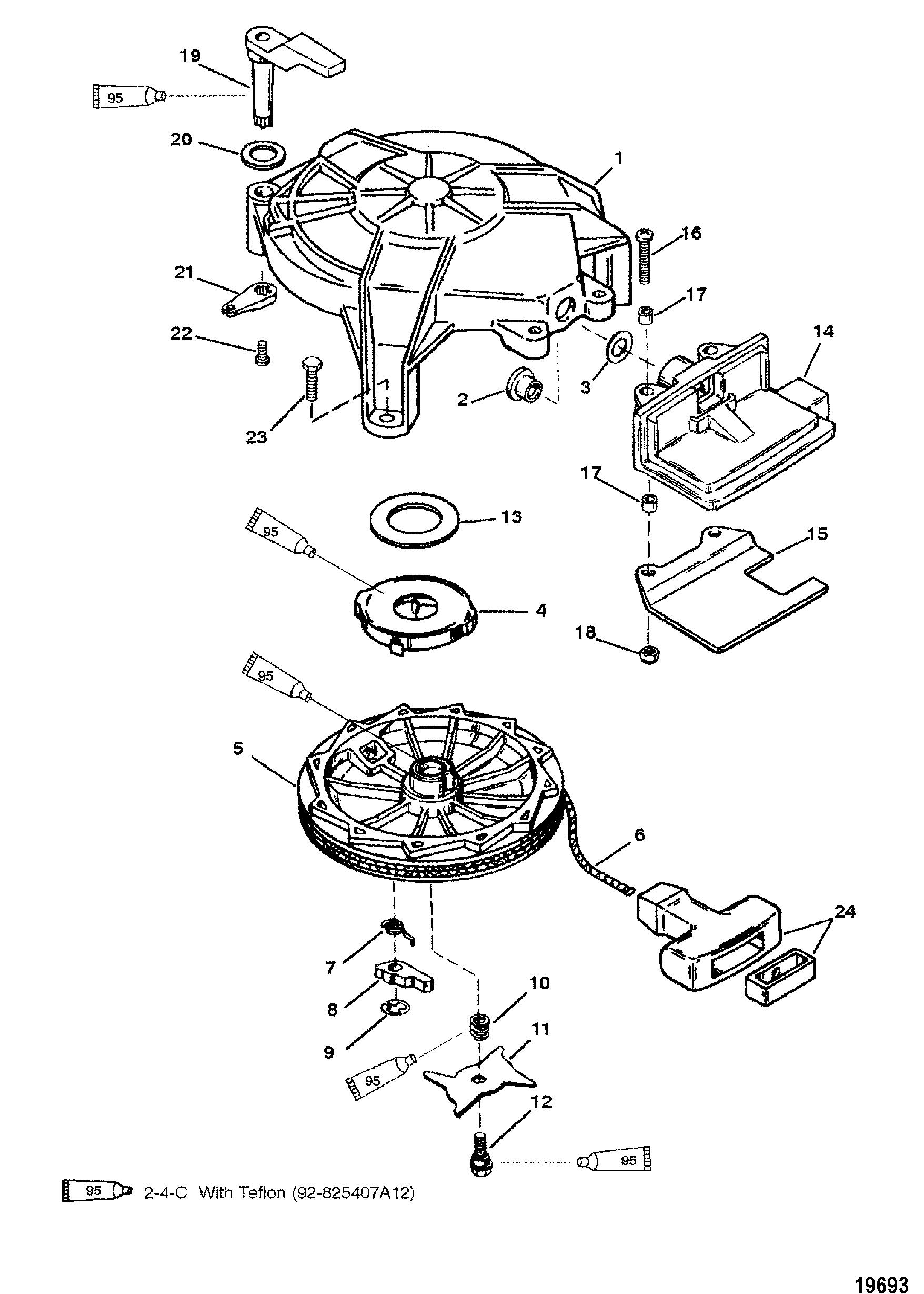 Manual Starter For Mariner Mercury 6 8 Sailmate 9 9