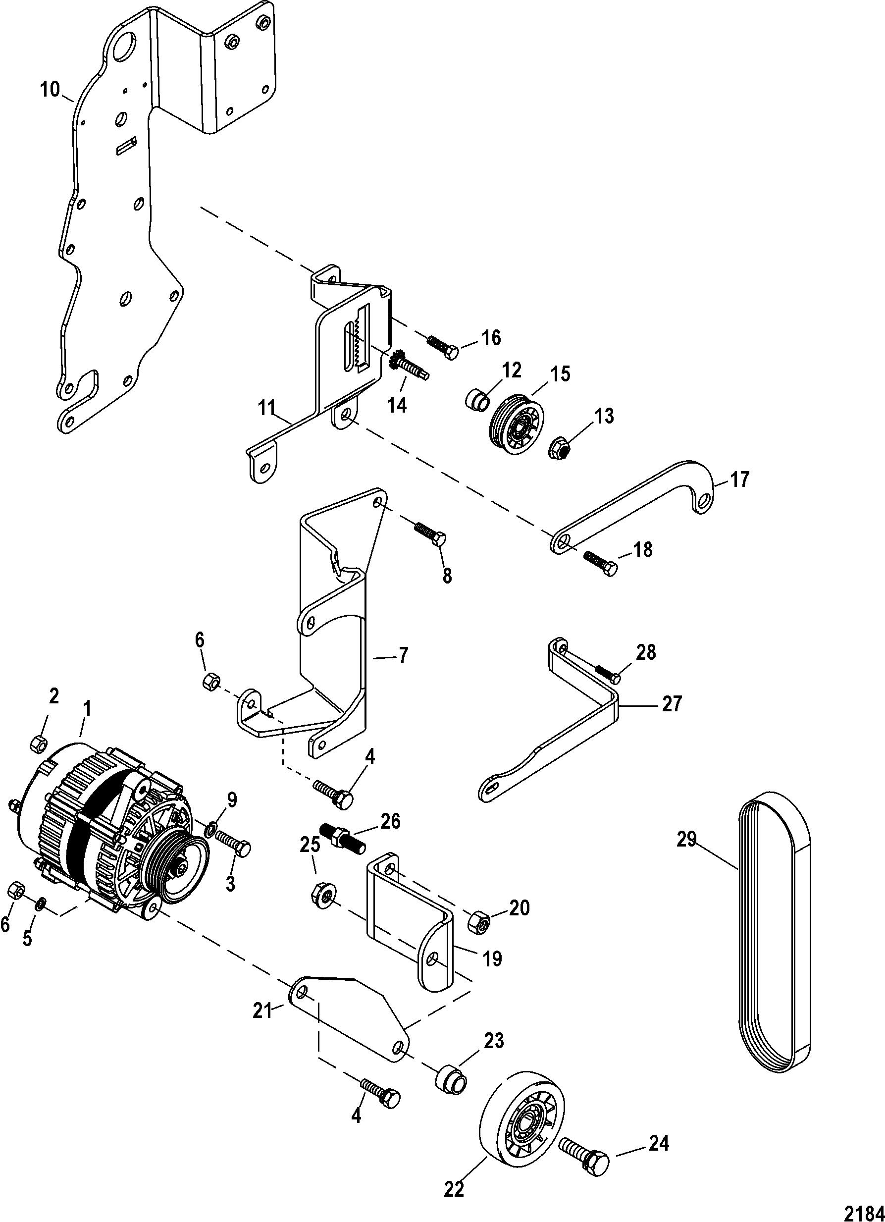 Alternator And Brackets For Mercruiser 5 0l 5 7l Sterndrive