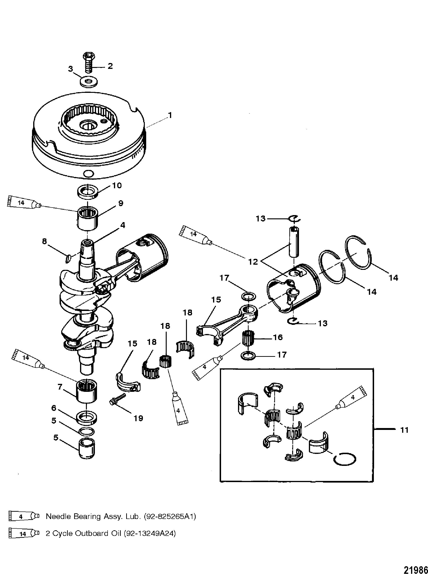 Crankshaft Pistons And Flywheel For Mariner Mercury Sea