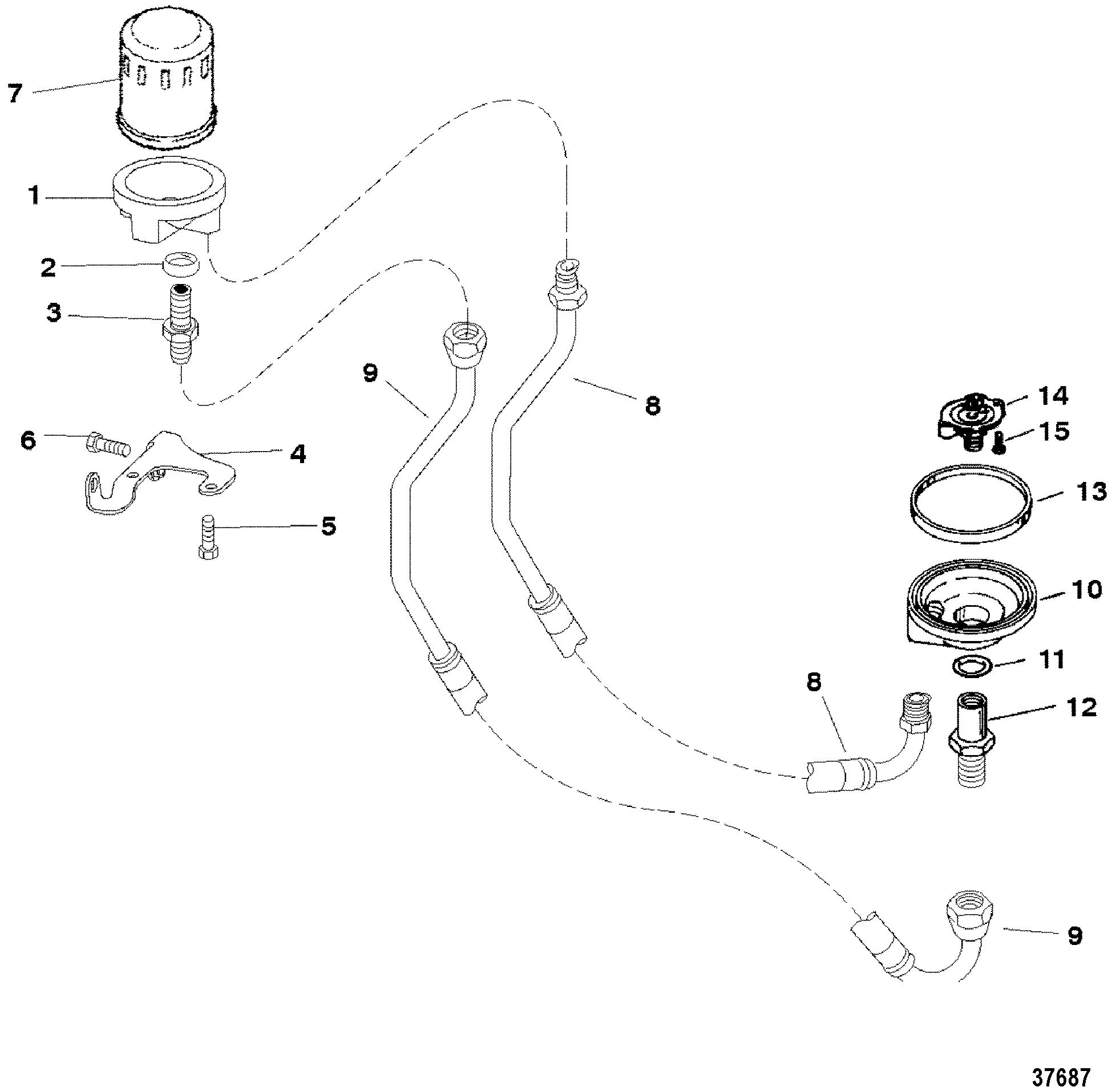 Remote Oil Filter For Mercruiser 5 7l 2bbl 5 7lx 4bbl 350