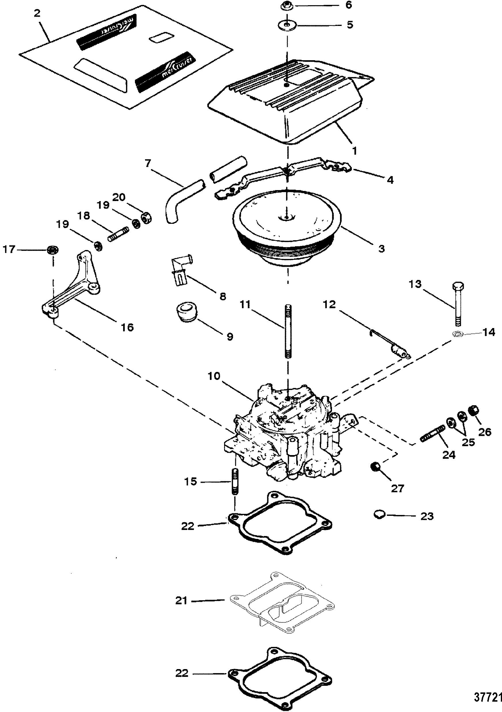 Carburetor Throttle Linkage 4 Barrel For Mercruiser 5 7l Lx 350 Mag Alpha Bravo