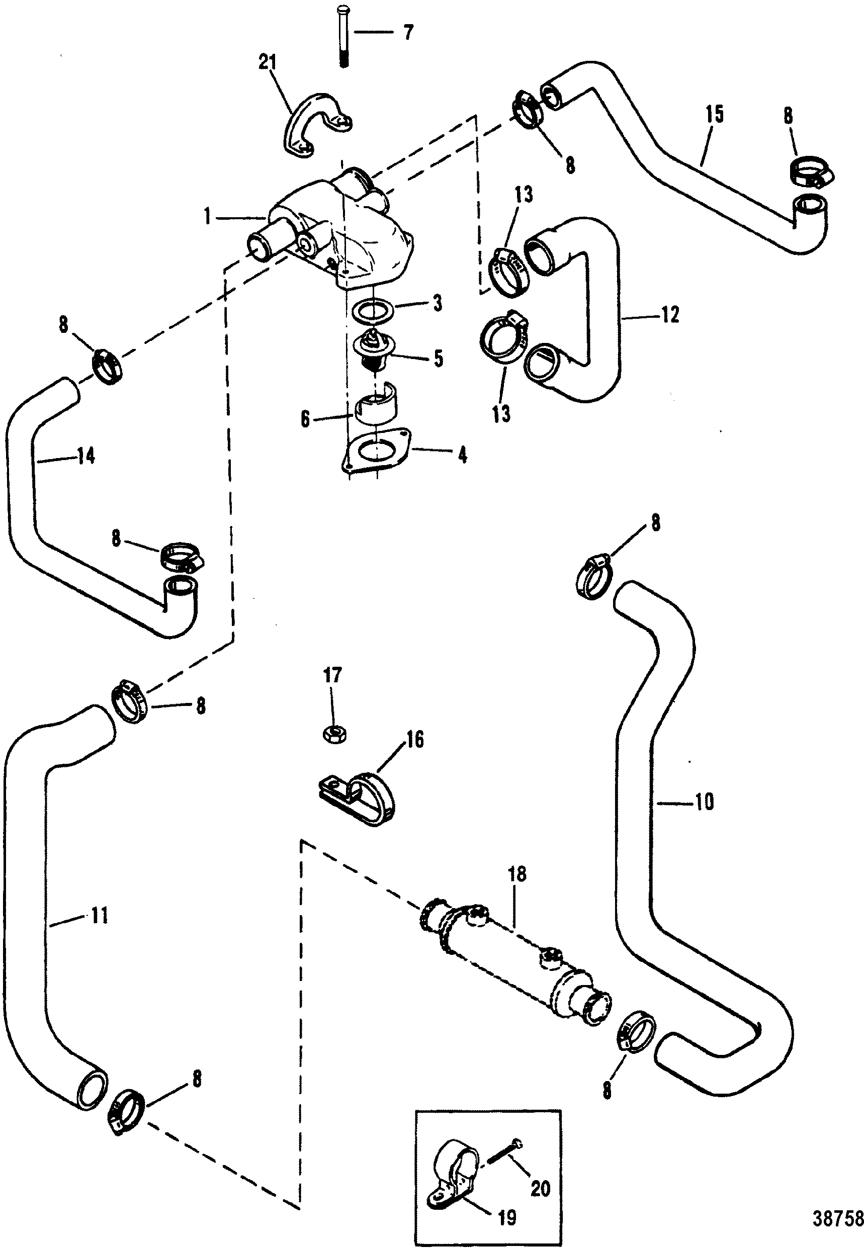 Standard Cooling System Design Ii For Mercruiser 4 3l 4 3lx Alpha One Engine 262 Cid Gen Ii