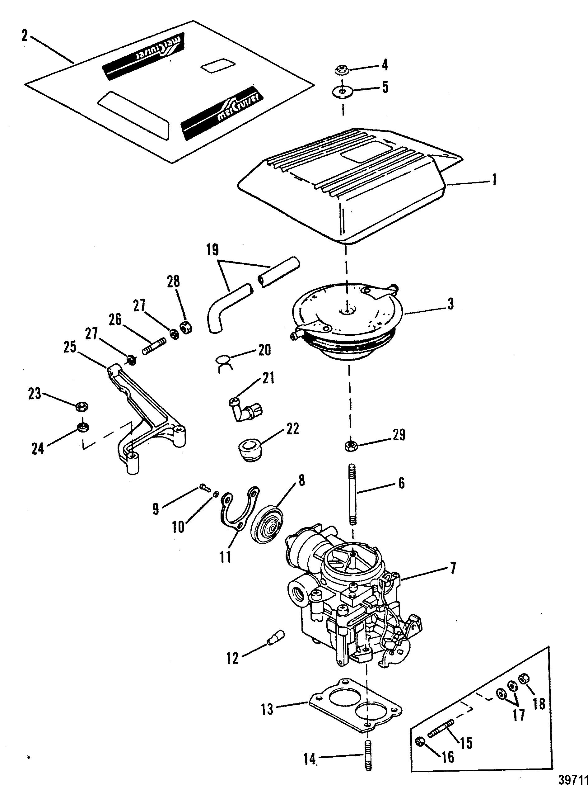 Carburetor And Throttle Linkage 2 Barrel For Mercruiser 4