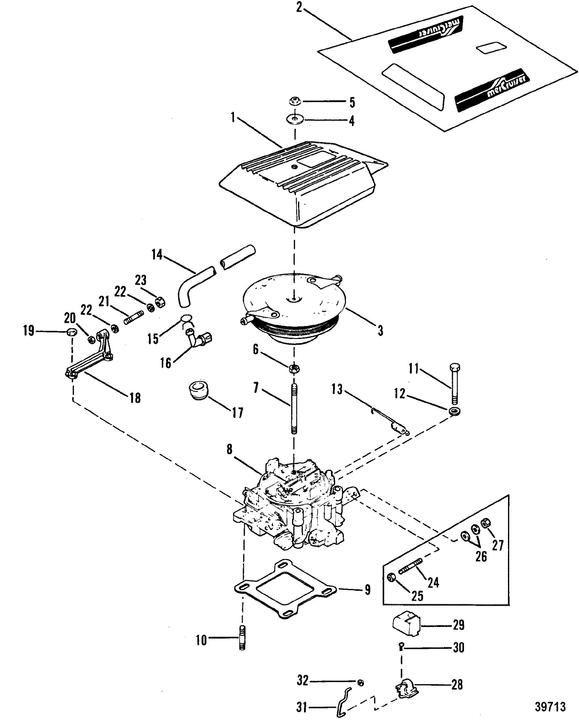 Carburetor And Throttle Linkage 4 Barrel For Mercruiser 4