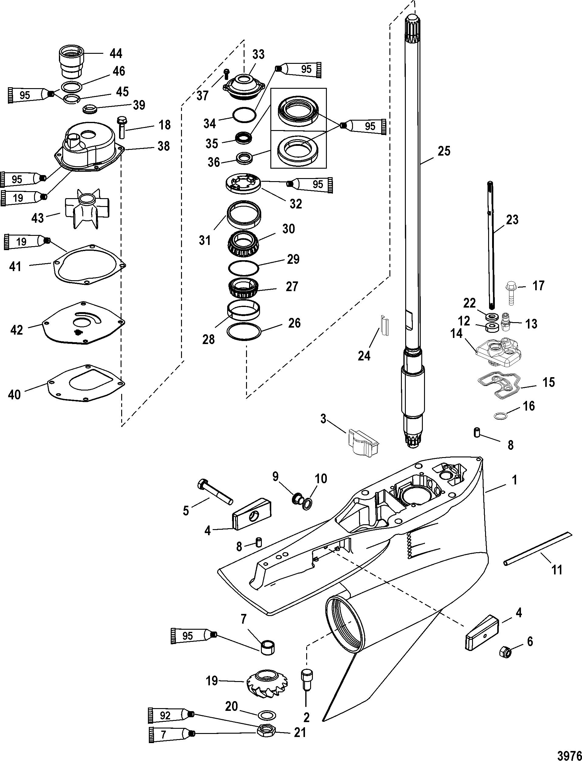 Gear Housing Driveshaft Torquemaster For Mercury 225 250