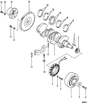 CRANKSHAFT, FLYWHEEL AND ALTERNATOR FOR MERCRUISER 470 ENGINE