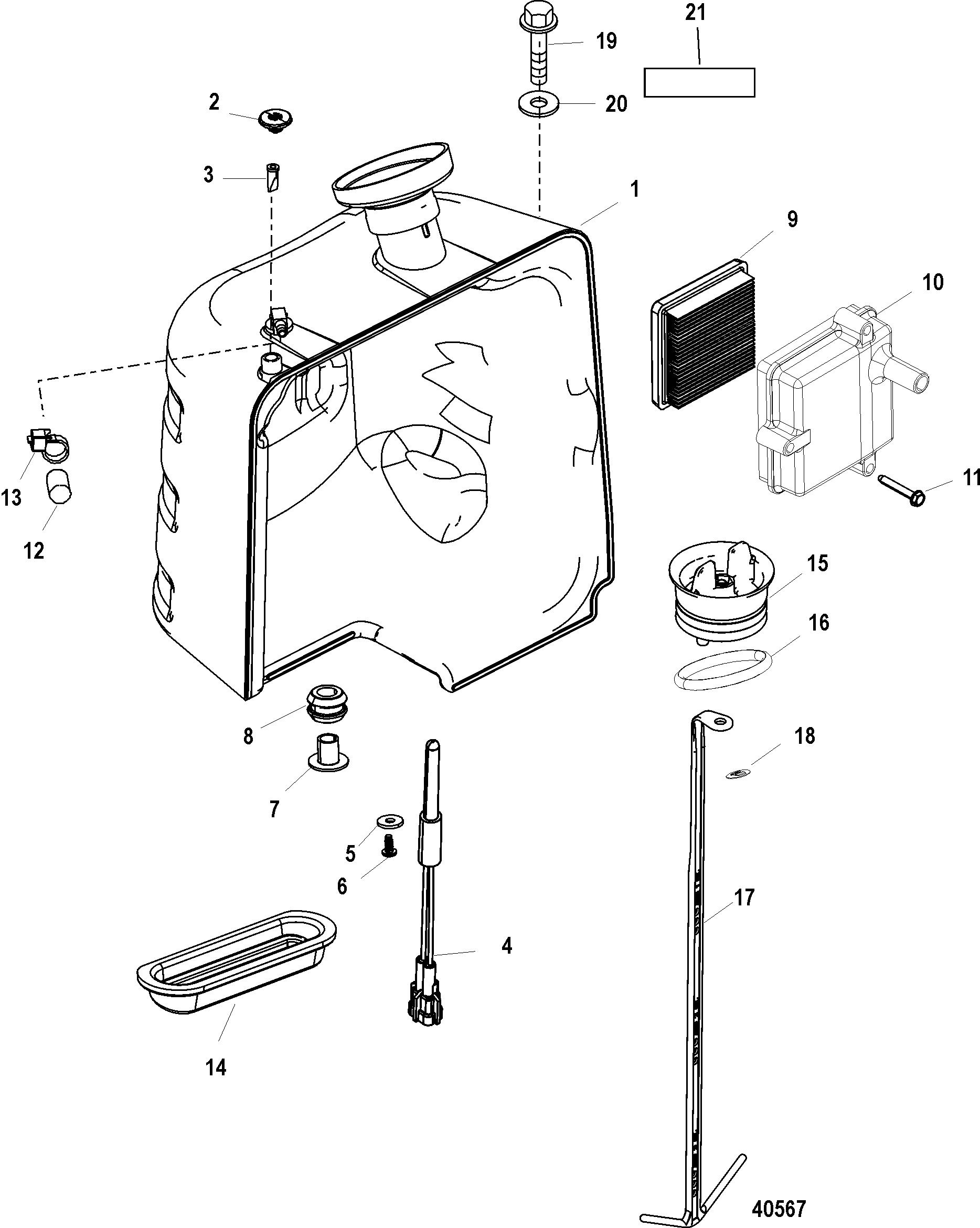 Oil Tank For Mercury 115 Pro Xs 1 5l