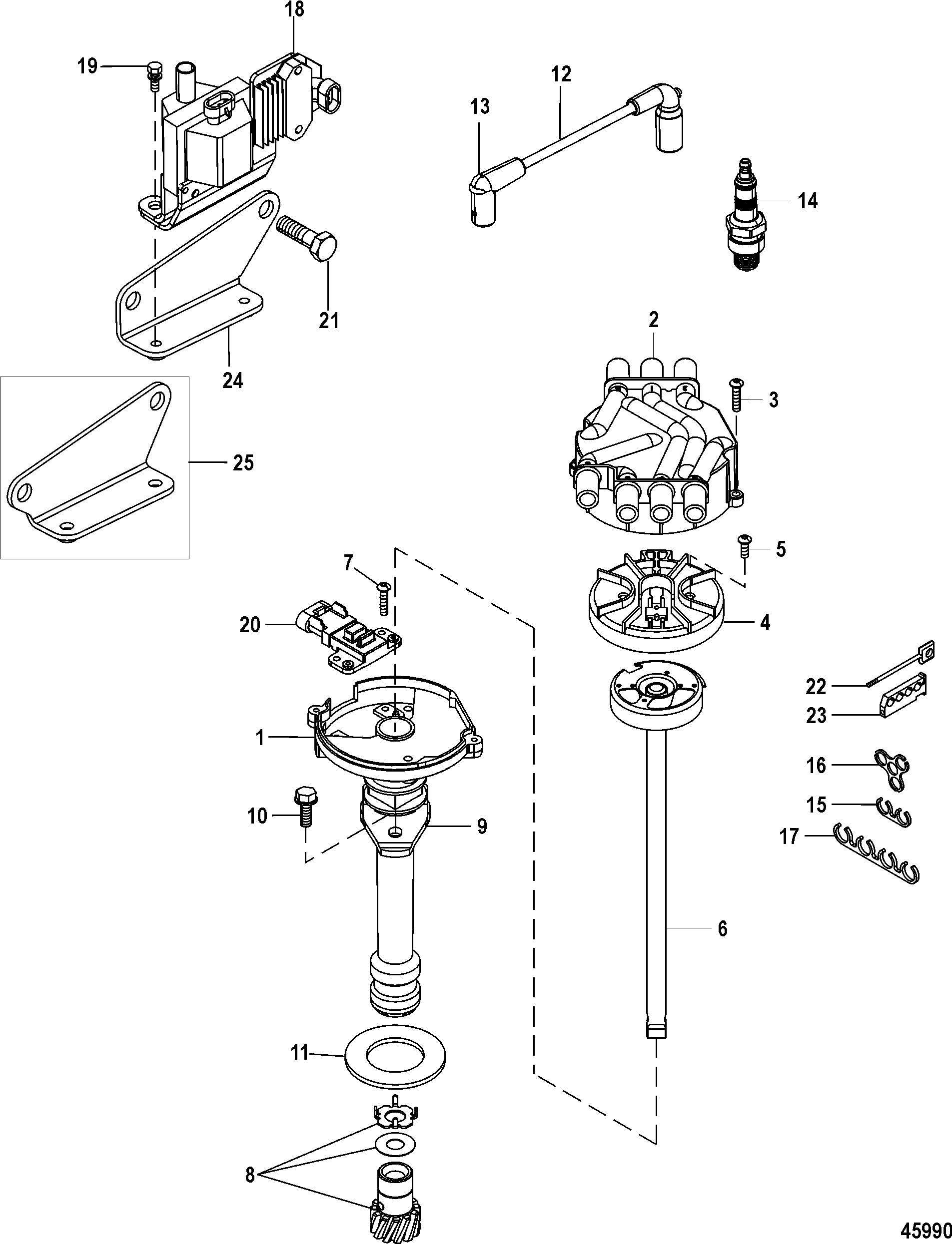 Distributor And Ignition Components For Mercruiser 4 3l