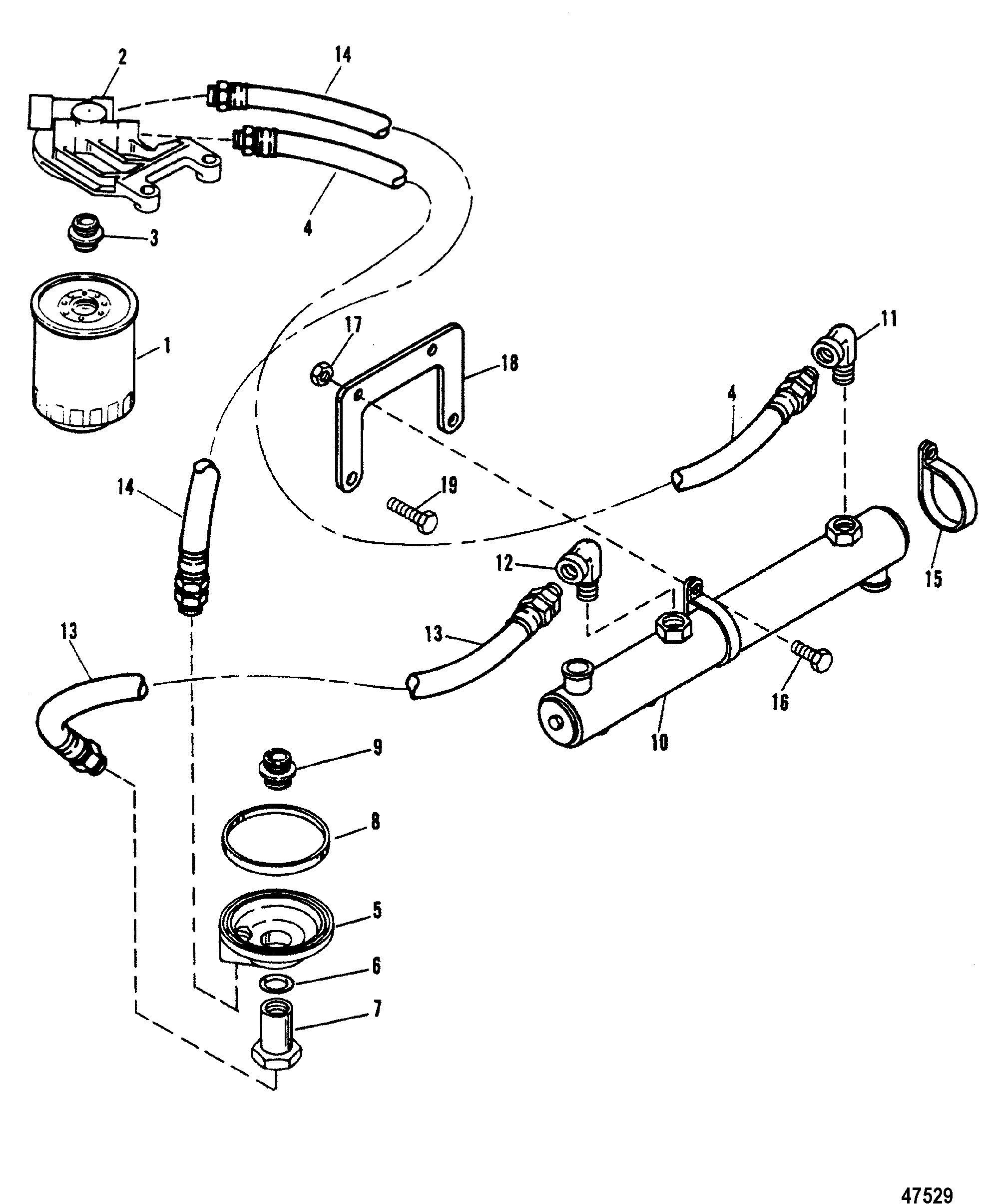 Oil Filter And Adaptor For Mercruiser 502 Magnum Bravo