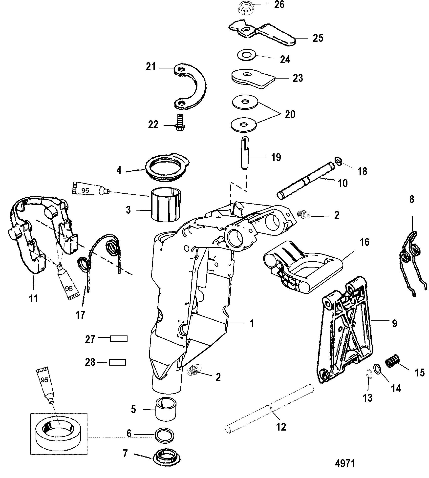 Swivel Bracket For Mariner Mercury 8 9 9 13 5 15 2 Stroke