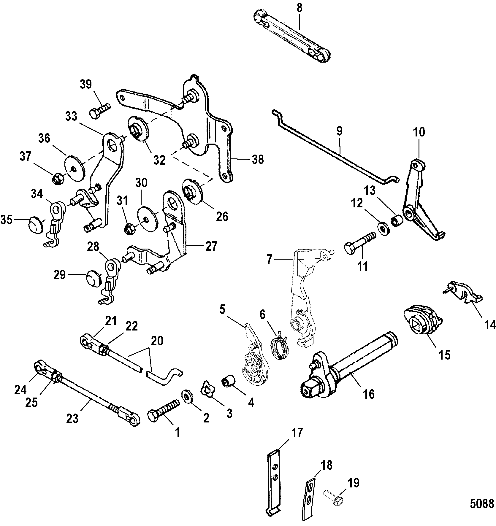 Throttle And Shift Linkage Remote Control For Mariner