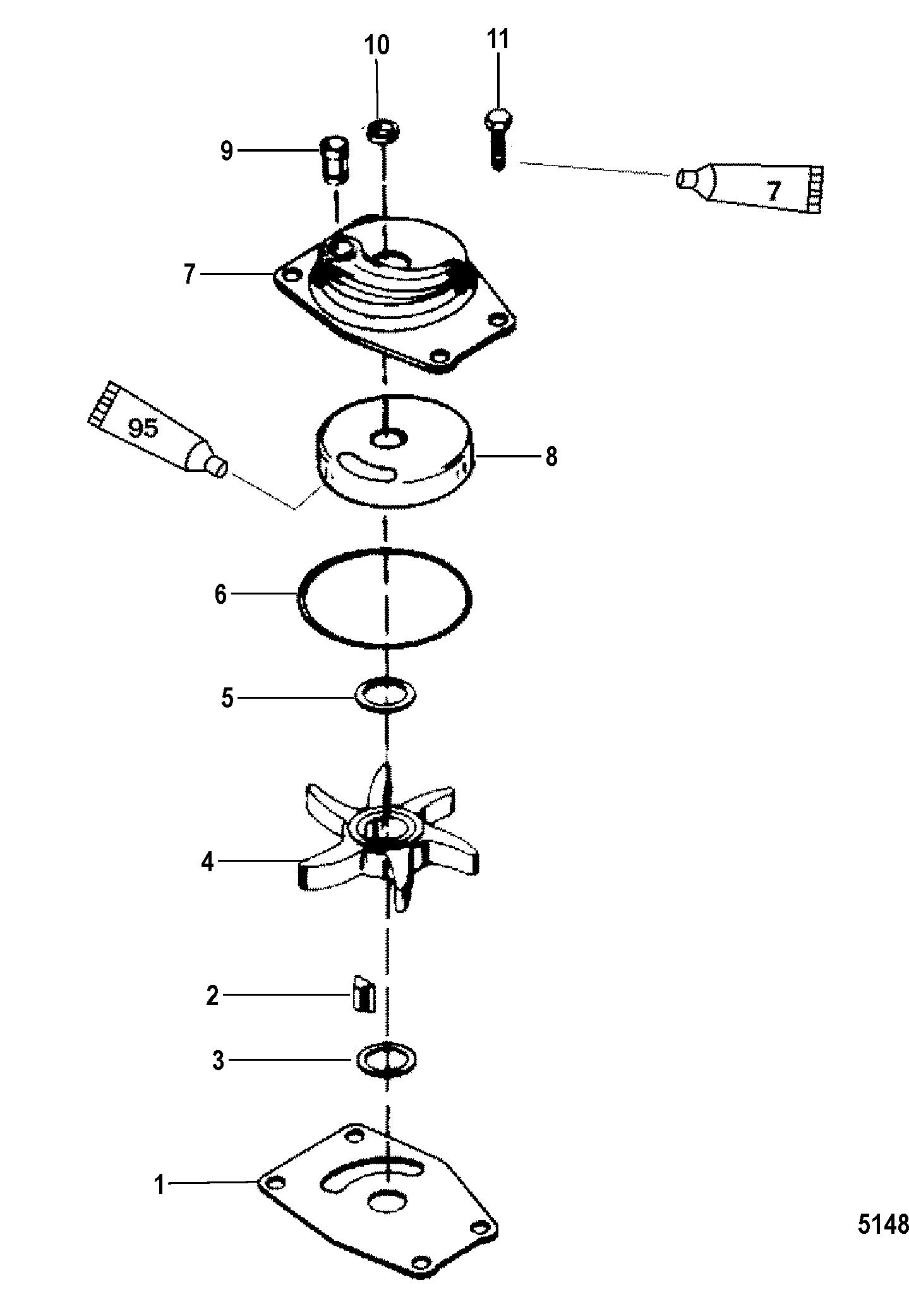 Jet Water Pump Components For Mariner Mercury 20 25 Jet 20 Seapro Marathon 15xd Super 15 Jet
