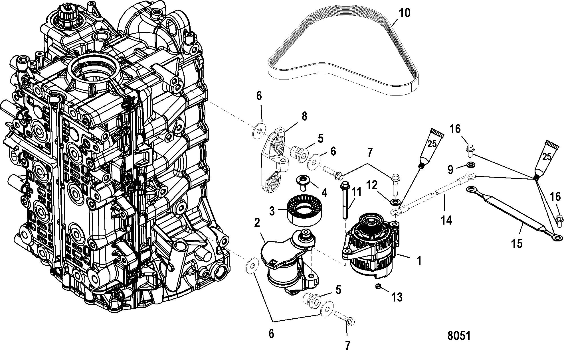 Alternator Belt Tensioner Mounting For Mariner Mercury