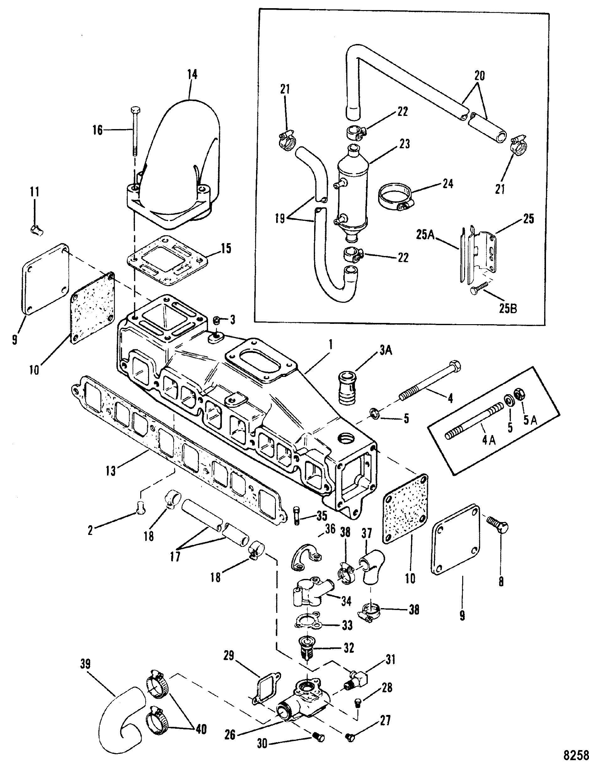 Exhaust manifold and water system with end caps 3 0lx for mercruiser