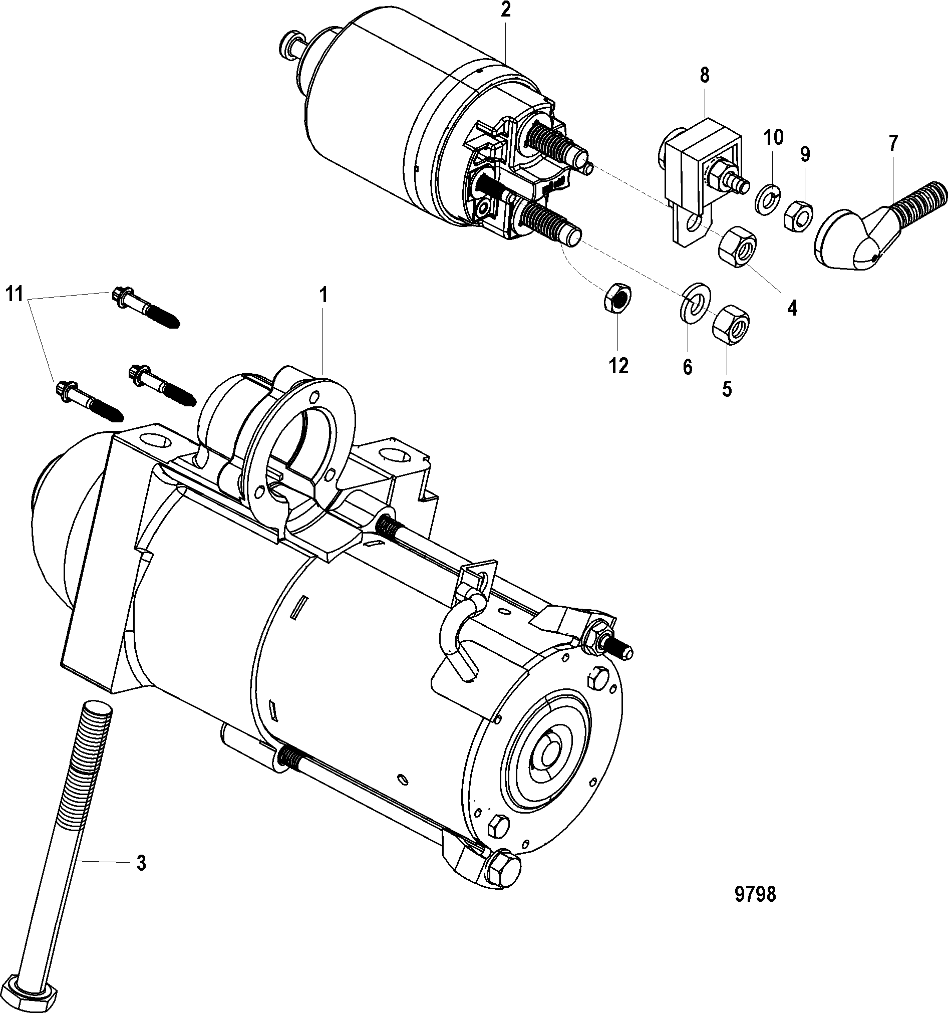 Starter Motor For Mercruiser 5 0l 350 377 Mag Mpi