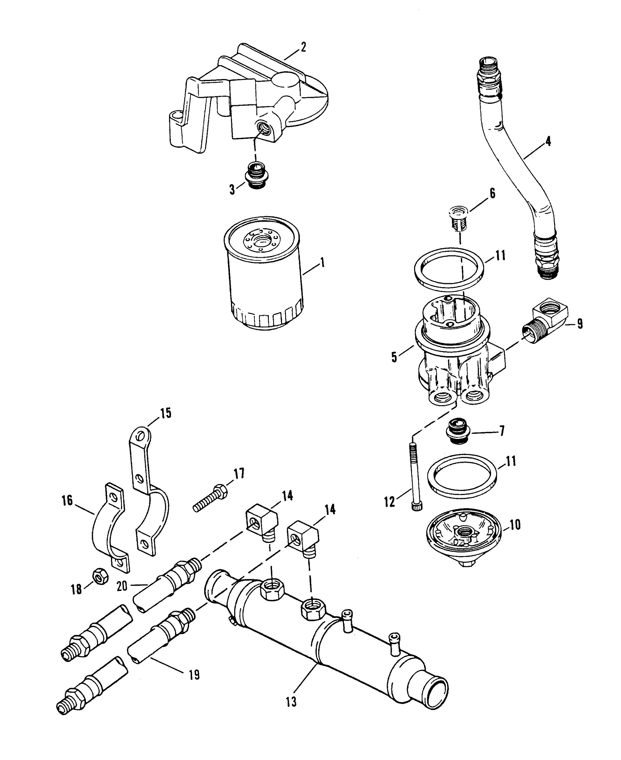 Oil Filter And Adaptor For Mercruiser 454 Magnum Bravo Engine