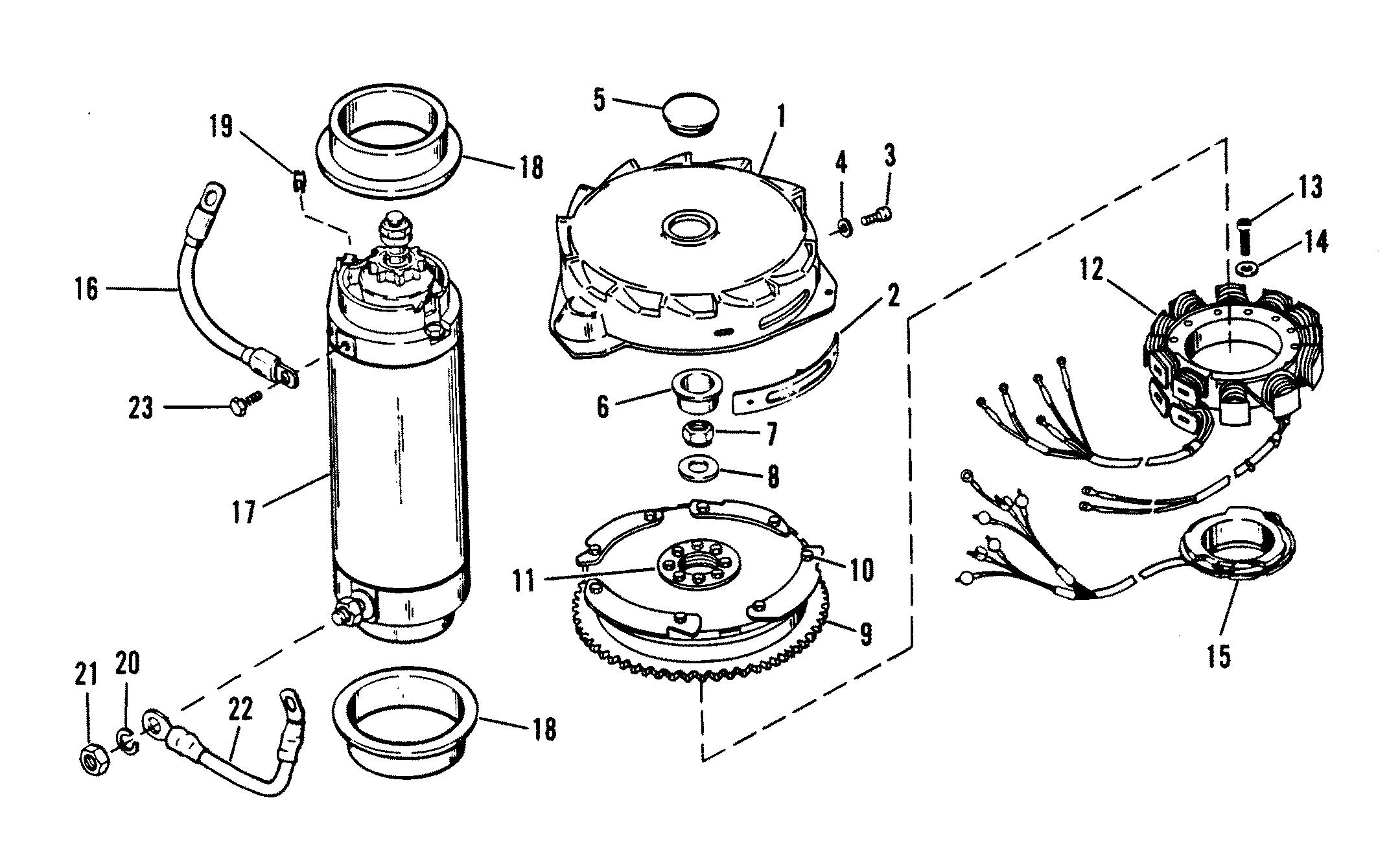 Flywheel Starter Motor For Mariner Mercury Sea Ray 175
